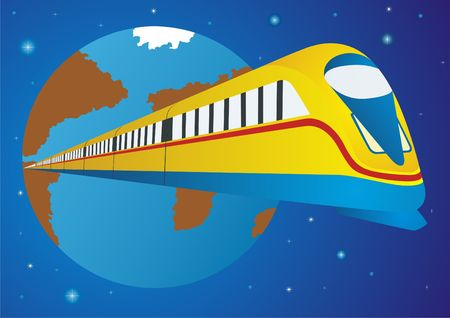 highspeed: Railway transport. High-speed train on the background of the globe.