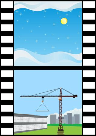 Film depicting a winter landscape and construction equipment on the construction of the building
