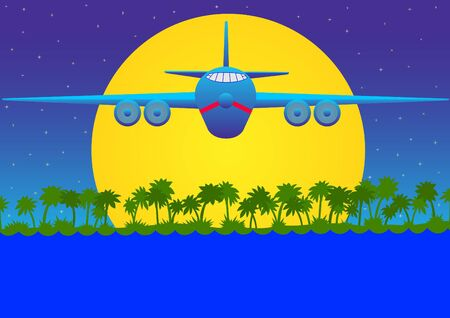 Large transport aircraft flies over the water at the night sky. photo