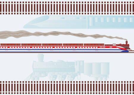 treno espresso: Vecchia locomotiva trasporto merci e passeggeri moderno express treno accelerazione lungo le rotaie.  Archivio Fotografico