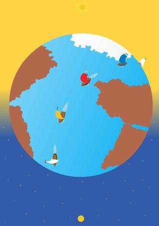 Abstract image of the globe around which passes voyage around the globe regatta. Stock Photo - 7963488