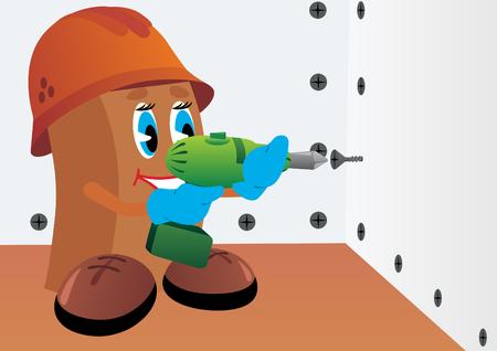 mur platre: Constructeur avec tournevis vissage les vis dans le mur de pl�tre. Illustration