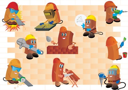 Builders against a brick wall. Various construction workers profession. Vector