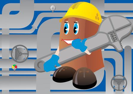 tuberias de agua: Fontanero m�s con llave ajustable en el fondo de las conducciones de agua.