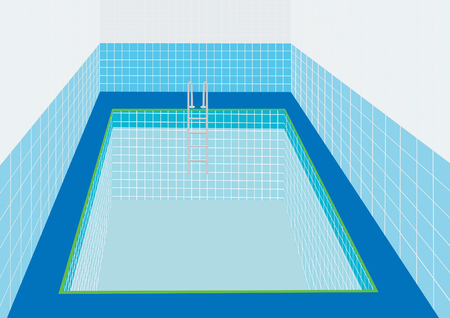 descend: Swimming pool with a ladder to descend into the water.