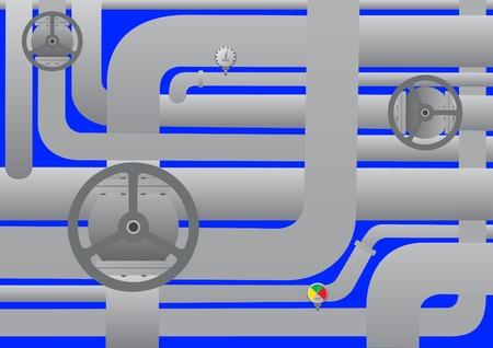 ventile: Technischer Hintergrund. Wasserleitungen auf welche Ventile und Sensoren zur Messung von.