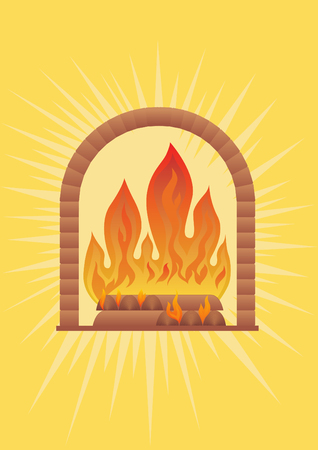 outbound: Burning wood in the fireplace and outbound from them light and warmth. Illustration