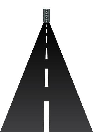 Abstract beeld van de weg in de verte. Auto wielen rollen op de snelweg.  Vector Illustratie