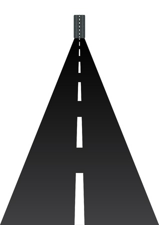 tyre tread: Abstract image of the road going into the distance. Car wheel rolling on the highway. Illustration