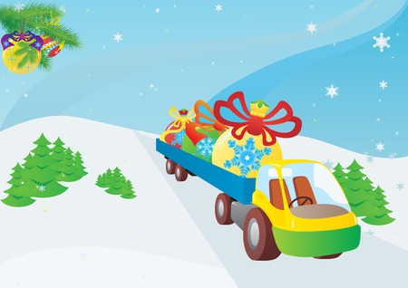 Preparation for the New Year holidays. Truck transports in the back of Christmas decorations. Vector