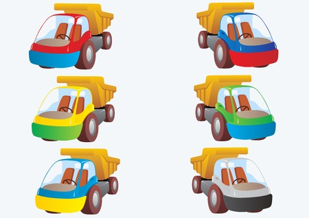 Truck tippers. Trucks of various colors. Illustration