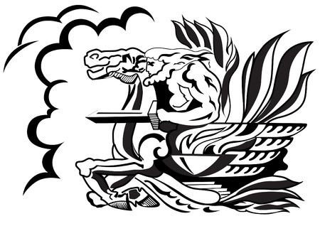 charro: M�tico jinete con una espada que montar un caballo.