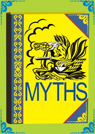 horseman: Edici�n impresa. Un libro sobre la cubierta de los cuales representa a un jinete m�tico con una espada montado en un caballo. Vectores