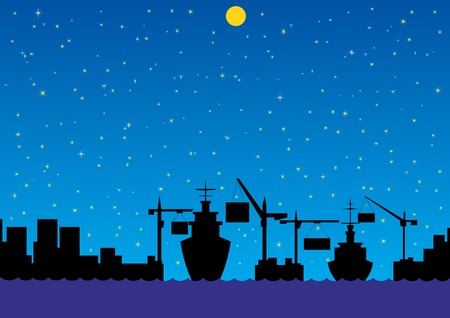 unloading: Night landscape. In the port of loading and unloading cargo ships.