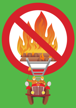 brigade: Prohibition sign. The ban on cultivation of an open fire. Burning wood in the fire. Brigade firefighters rushing to extinguish the fire.