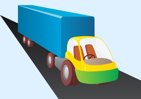 Freight transport by road. A truck with a large trailer. Vector