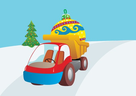 Preparing for the New Year. Machine driven by Christmas decorations. Vector
