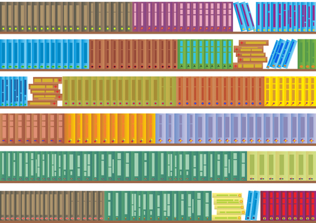 Library shelf apart and spread out her books. Stock Vector - 8202026