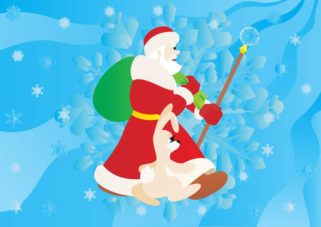 Abstract winter background with Santa Claus and the hare. Stock Vector - 8372282