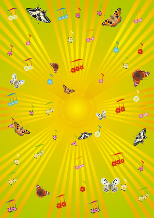 Abstract background of the musical note signs and flying butterflies. Vector