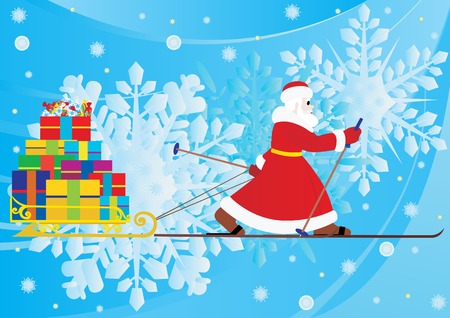 Abstract Christmas background with Santa Claus Stock Vector - 8372291