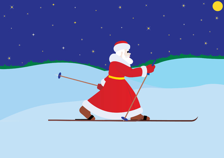 Illustration on the theme of the New Year. Santa goes skiing. Vector