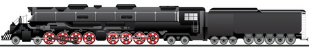Old locomotive. Veteran rail traffic. Vector