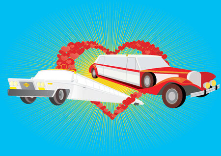 limo: Modern and retro-limousine for the newlyweds on an abstract background of a heart. Illustration