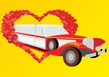 restored: Restored vintage limousine with wedding rings on the roof, against a background of abstract hearts.