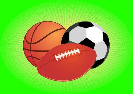 Sports equipment. Balls for soccer and basketball. Vector