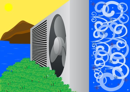 Air conditioner is made from a hot summer frosty winter Vector