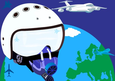 oxygen mask: Helmet pilot an aircraft with an oxygen mask on the background of the Earth and flying airplanes.