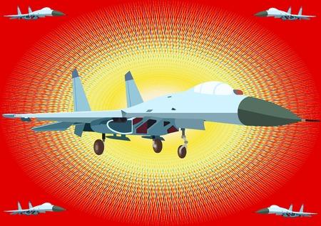 modern fighter: Aeronautica militare. Moderni aerei su uno sfondo astratto. Vettoriali