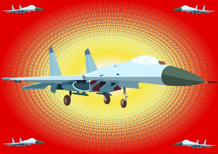 Airforce. Modern fighter aircraft on an abstract background. Vector