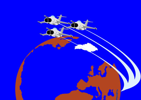 airforce: Airforce. Combat fighter flight against the backdrop of the Earth. Illustration