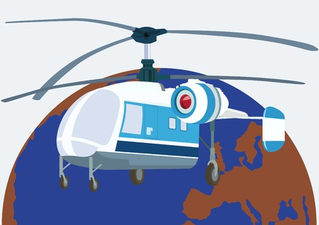 Civil aviation. The helicopter used by rescue services. Vector