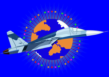 Airforce. Fighter in the abstract background with an image of the Earth surrounded by stars Vector