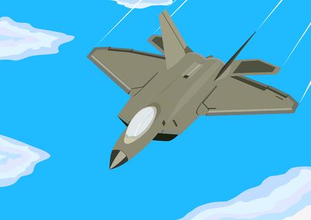 modern fighter: Aeronautica militare. Aereo da caccia moderna sta volando. Vettoriali