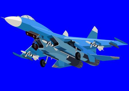 interceptor: Airforce. Military equipment. Modern fighter-interceptor. Illustration