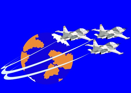 armaments: Airforce. Combat fighter flight against the backdrop of the Earth. Illustration