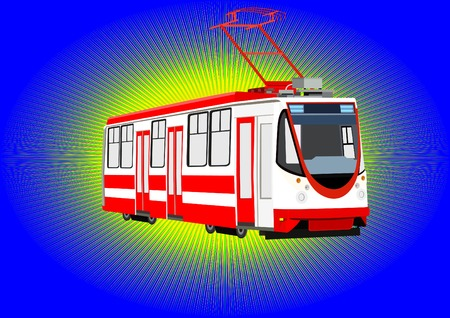 streetcar: Environmentally friendly urban transport mode. Modern streetcar on a blue background