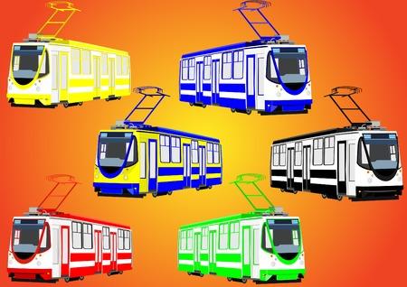 mode of transport: Modo de transporte urbano el medio ambiente. Modernos tranv�as de diferentes colores.