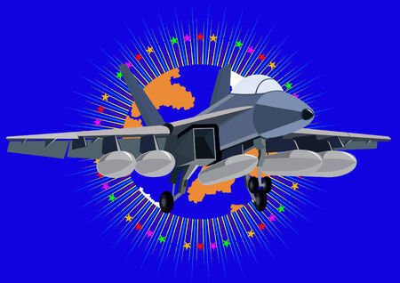 armaments: Airforce. Fighter in the abstract background with an image of the Earth surrounded by stars