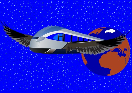 highspeed: Abstract image of a modern high-speed trains flying on the wings against the earth.