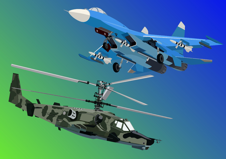 Military equipment. Airforce. Modern military aircraft and helicopters. Vector