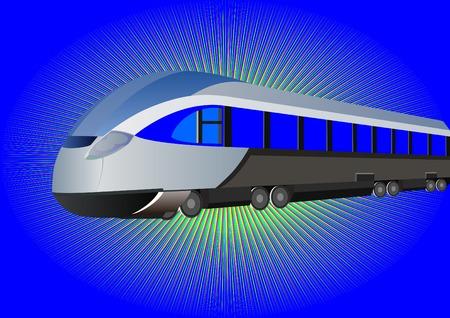 highspeed: Modern high-speed train on a blue background Illustration