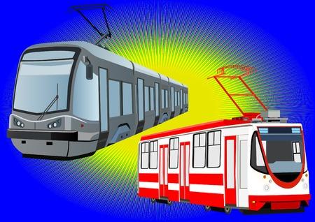 mode of transport: Modo de transporte urbano el medio ambiente. Modernos tranv�as en un fondo azul.