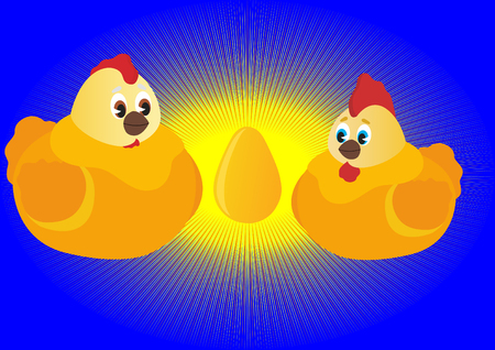 offspring: Hen and Rooster sitting next to eggs and waiting for the appearance of their offspring
