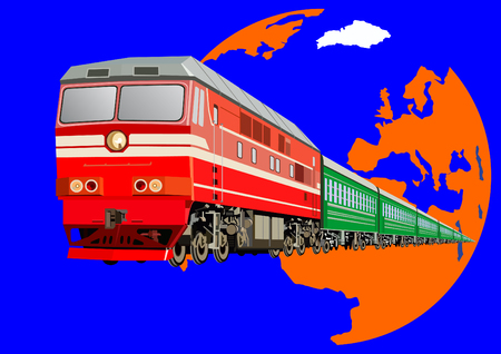 Railway transport. Passenger transport by rail. Locomotive with passenger cars on the background of the planet Earth. Stock Vector - 8613453