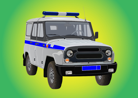 Russian SUV for the police to the beacon, siren and a distinctive stripe Vector